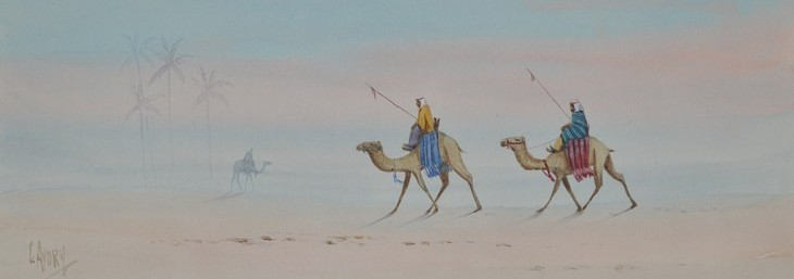 Camels in desert