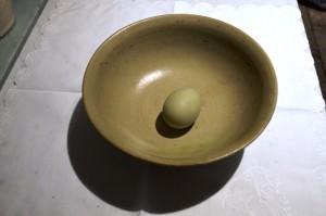21st century celadon egg in Longquan celadon bowl